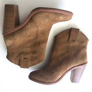 Joie Dalton Tan Suede Short Western Boots Size 7.5